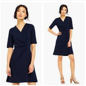 Adriana Papell navy wrap dress, large